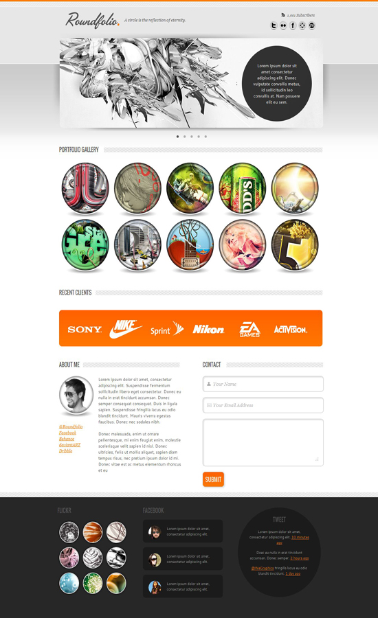 top roundfolio html template