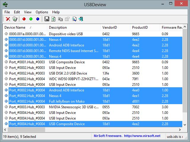 usbdeview- Window ADB ADB and FastBoot on Nexus 4