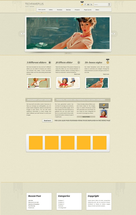 three column business blogger template design