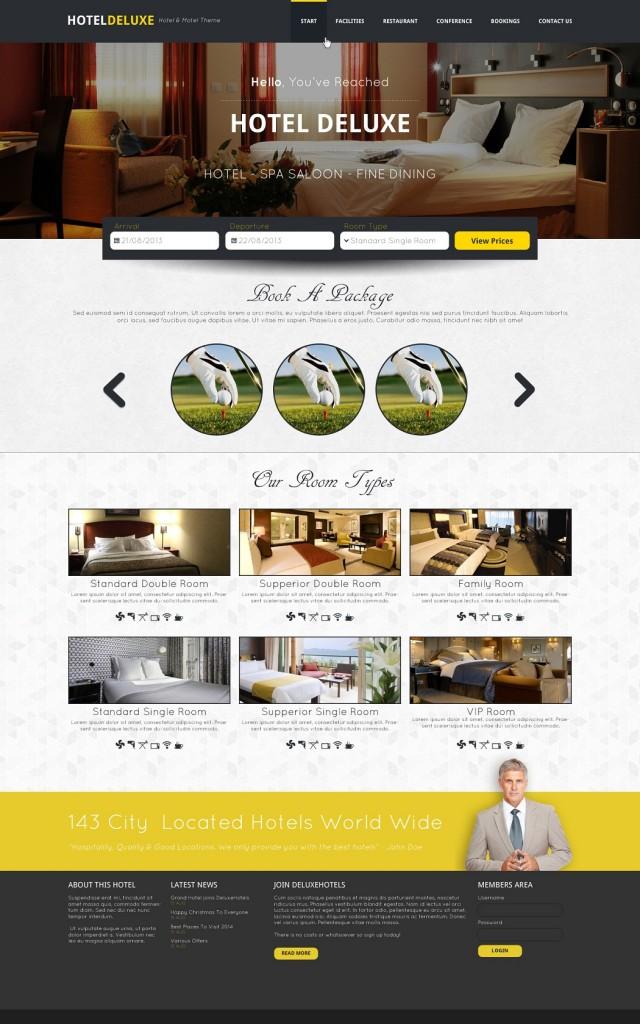 Free Download Hotel Website Template PSD Design
