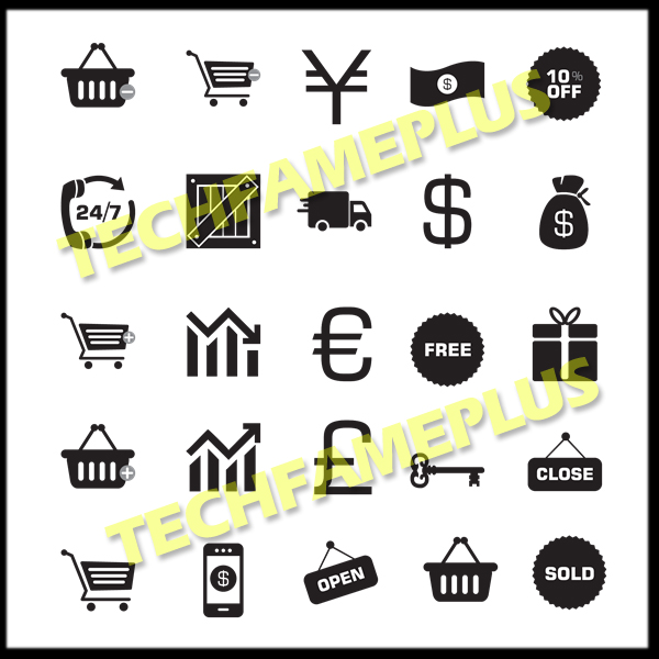 Top 25 Best E-commerce Icons PNG with hover effect