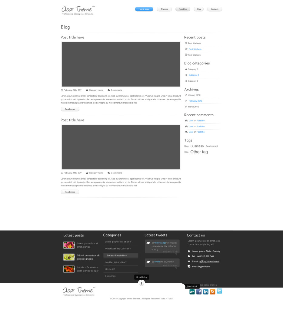 Clear theme Blog page