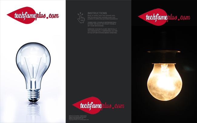 Black Three Fold Brochure PSD Design