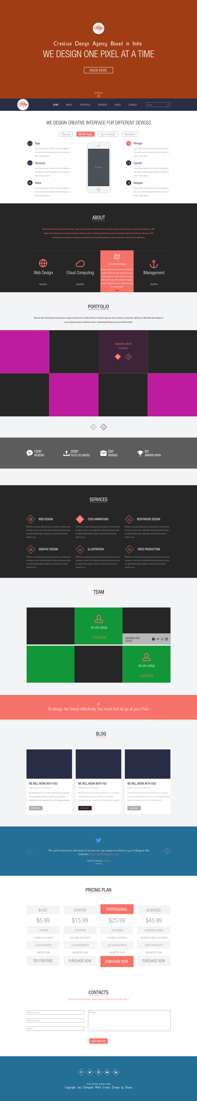 Move One page landing theme psd design