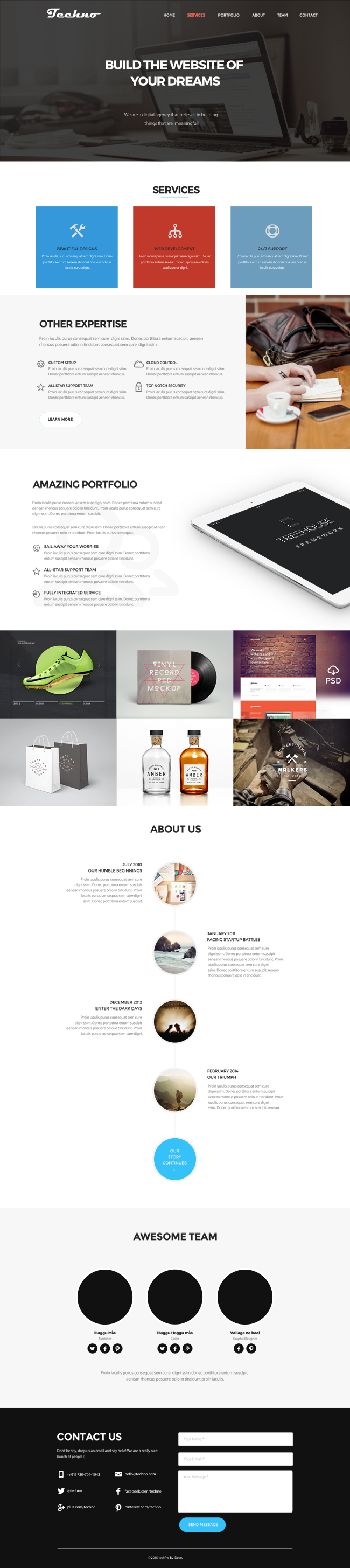 Techno one page website theme page design