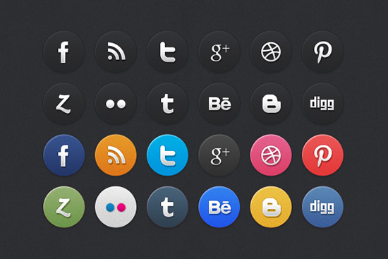 12 Awesome Social Media Icons with Hover PSD Design