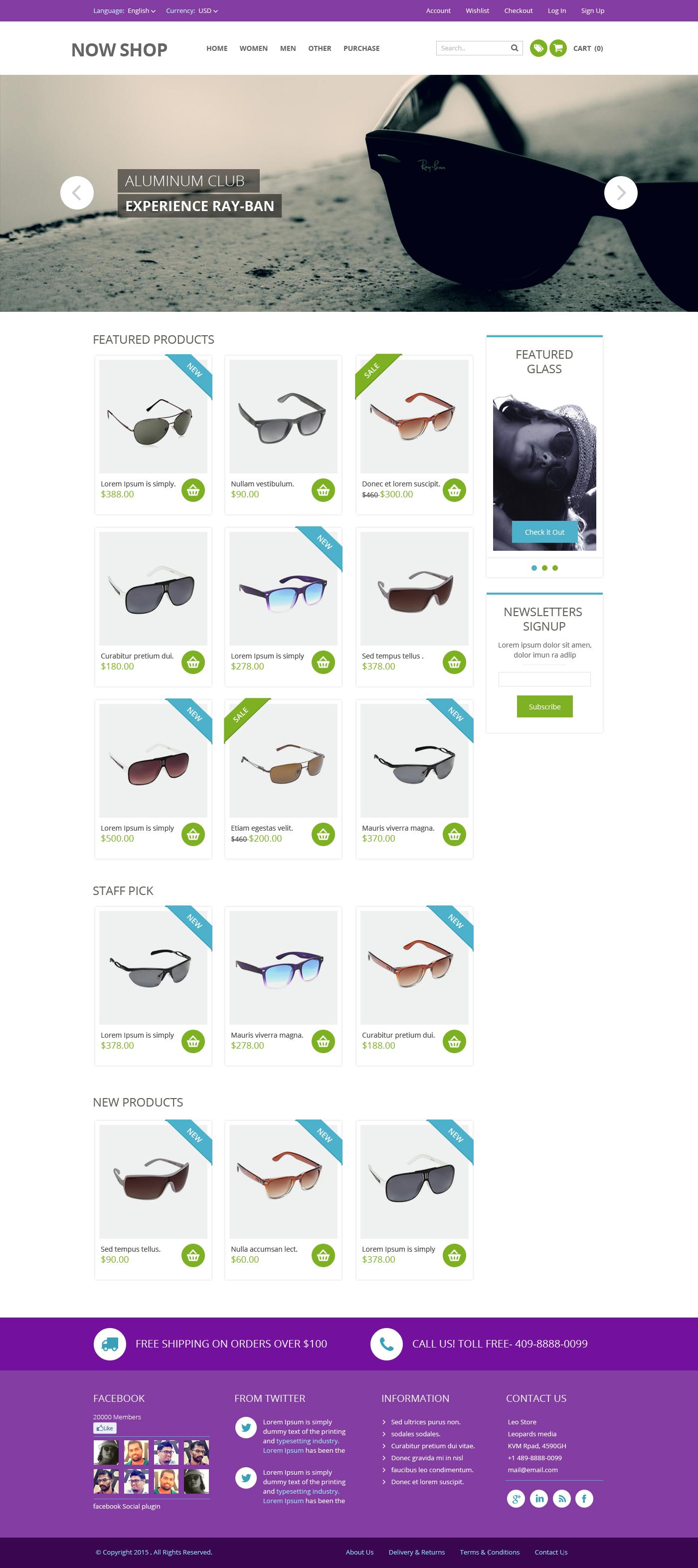 Free Online Shop Website Template PSD