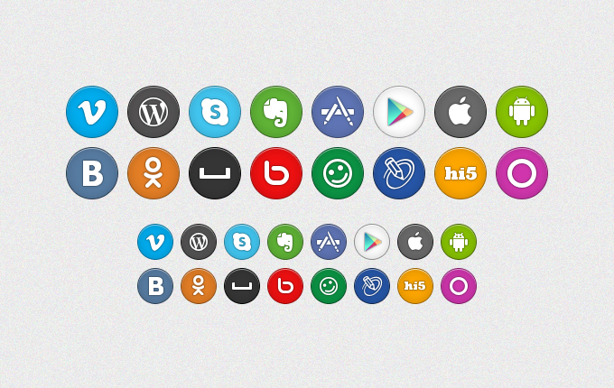 Round Social Media Icon With Hover Effect